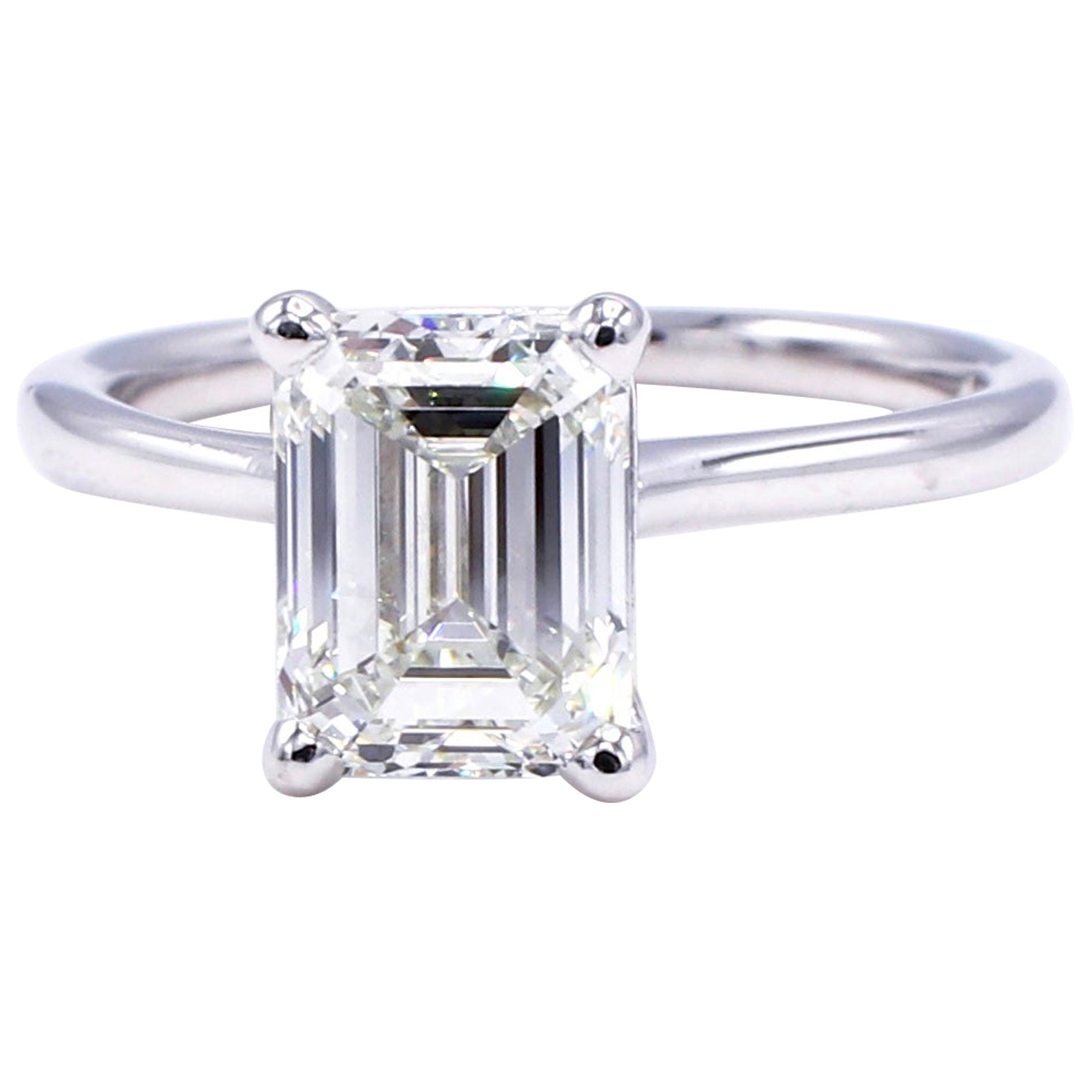 GIA Certified 2.03 Carat Emerald Cut Solitaire Diamond Platinum Engagement Ring