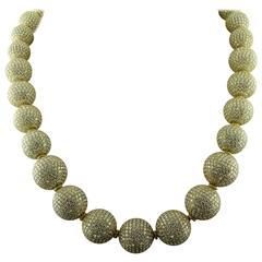 Judith Ripka Pave Diamond Gold Ball Necklace
