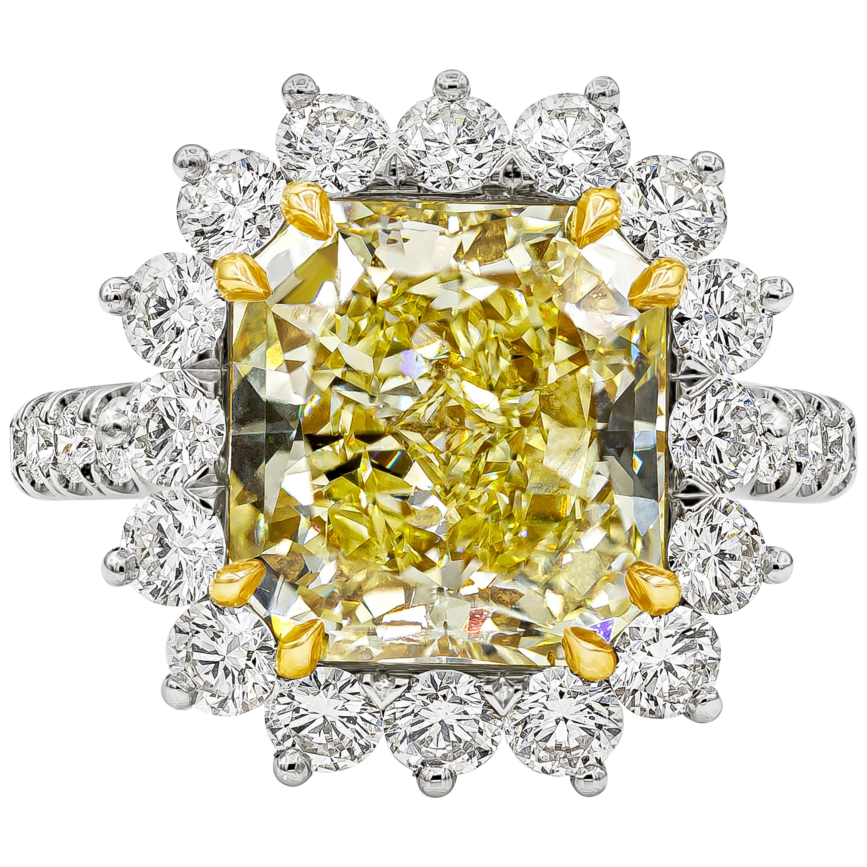 GIA Certified 5.66 Carat Radiant Cut Yellow Diamond Halo Engagement Ring