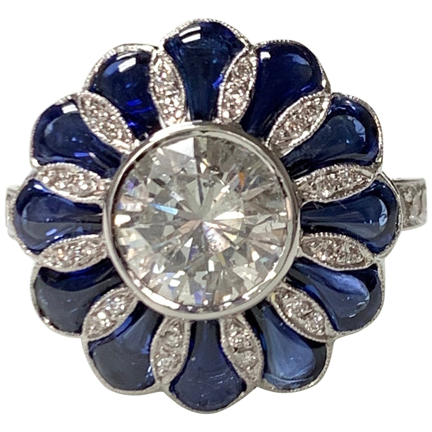 Blue Sapphire and White Old European Cut Diamond Ring in 18 Karat Gold
