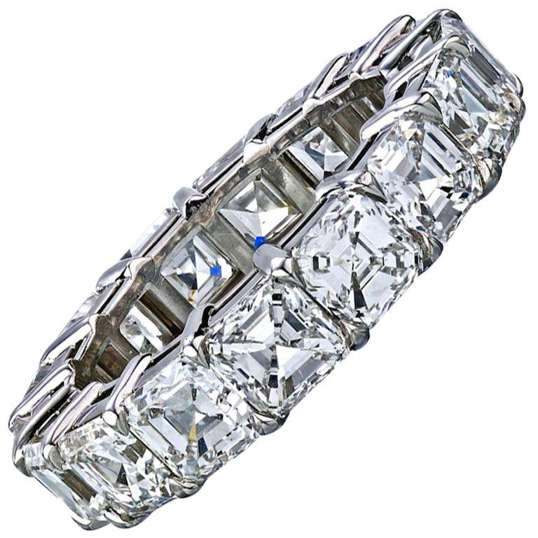 Platinum 7.95 Carat Asscher-Cut Diamond Eternity Band