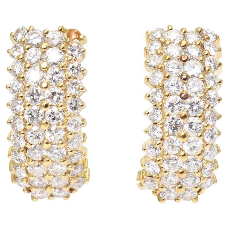 Pavé Diamond Yellow Gold Hoop Huggie Earrings