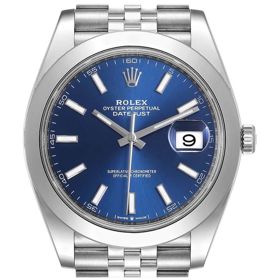 Rolex Datejust 41 Blue Dial Jubilee Bracelet Steel Men's Watch 126300 Box Card