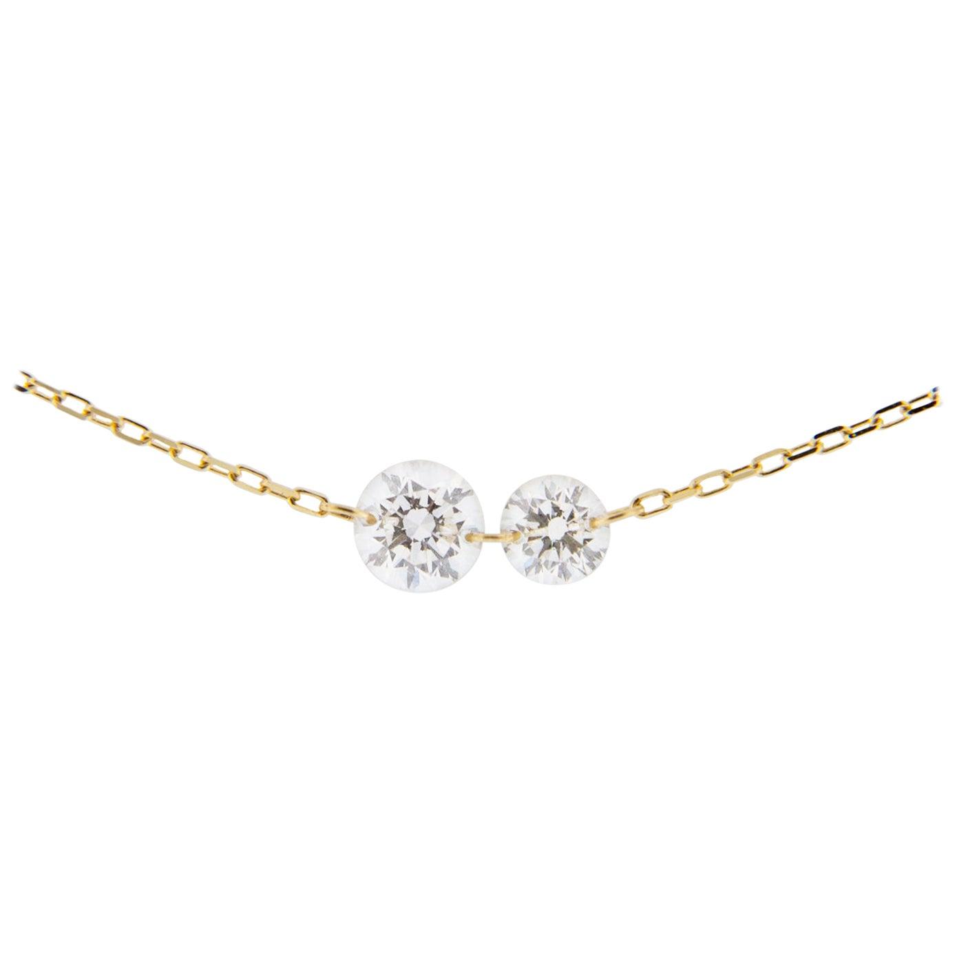 Jona Floating White Diamond 18 Karat Yellow Gold Necklace