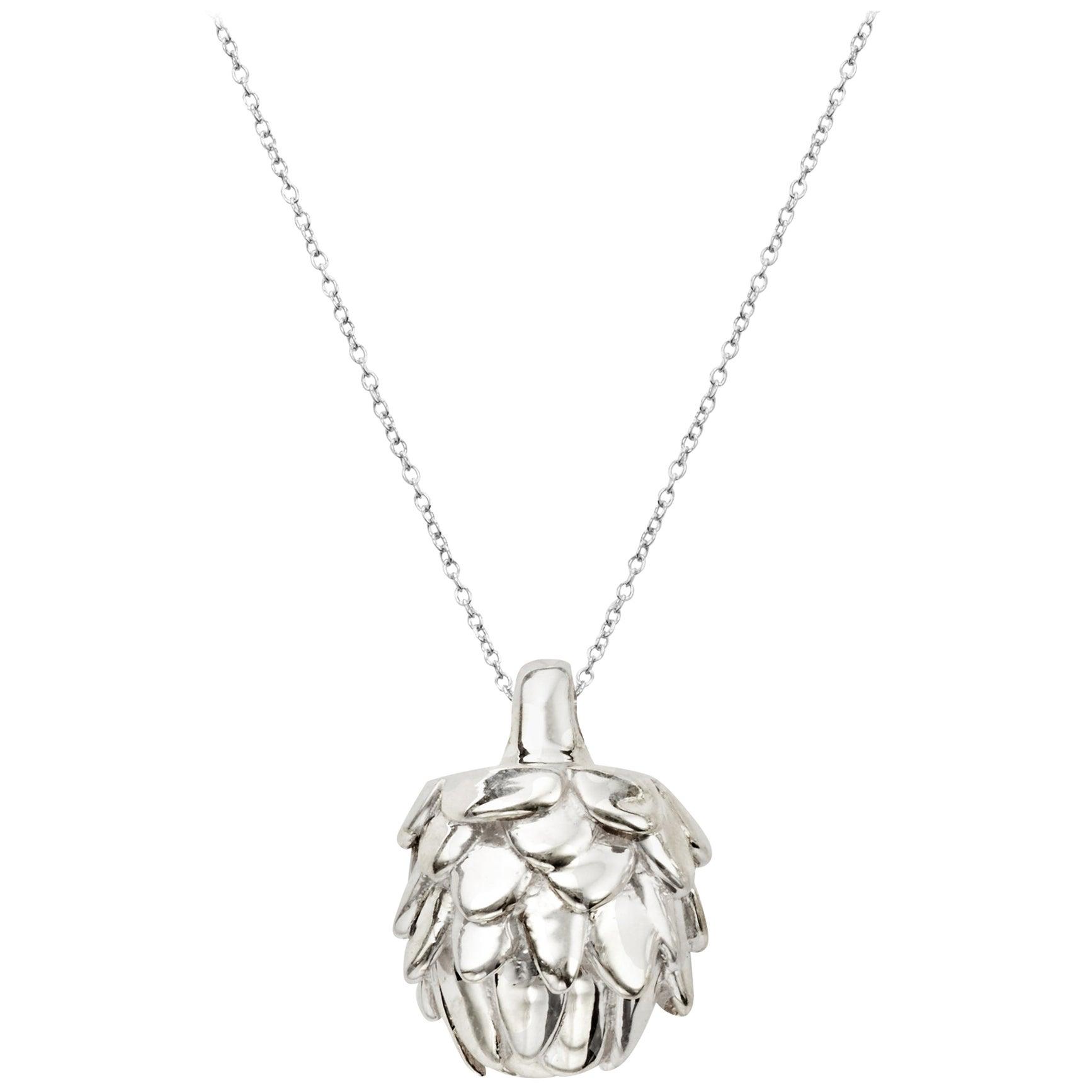 AGMES Sterling Silver Mini Artichoke Pendant Necklace on Chain