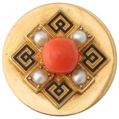1925 French Coral Pearl Enameled Gold Tie Pin