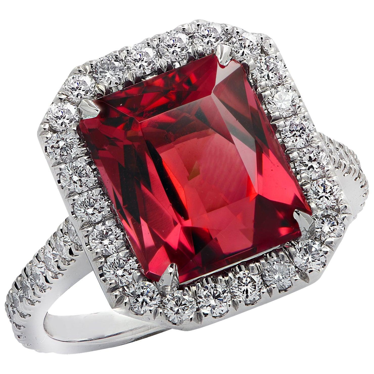 Vivid Diamonds 3.90 Carat Rubelite Tourmaline and Diamond Halo Engagement Ring