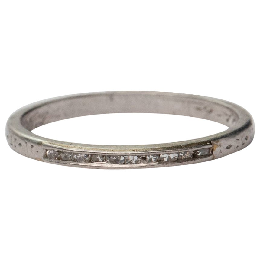 Art Deco Platinum and Diamond Wedding Band