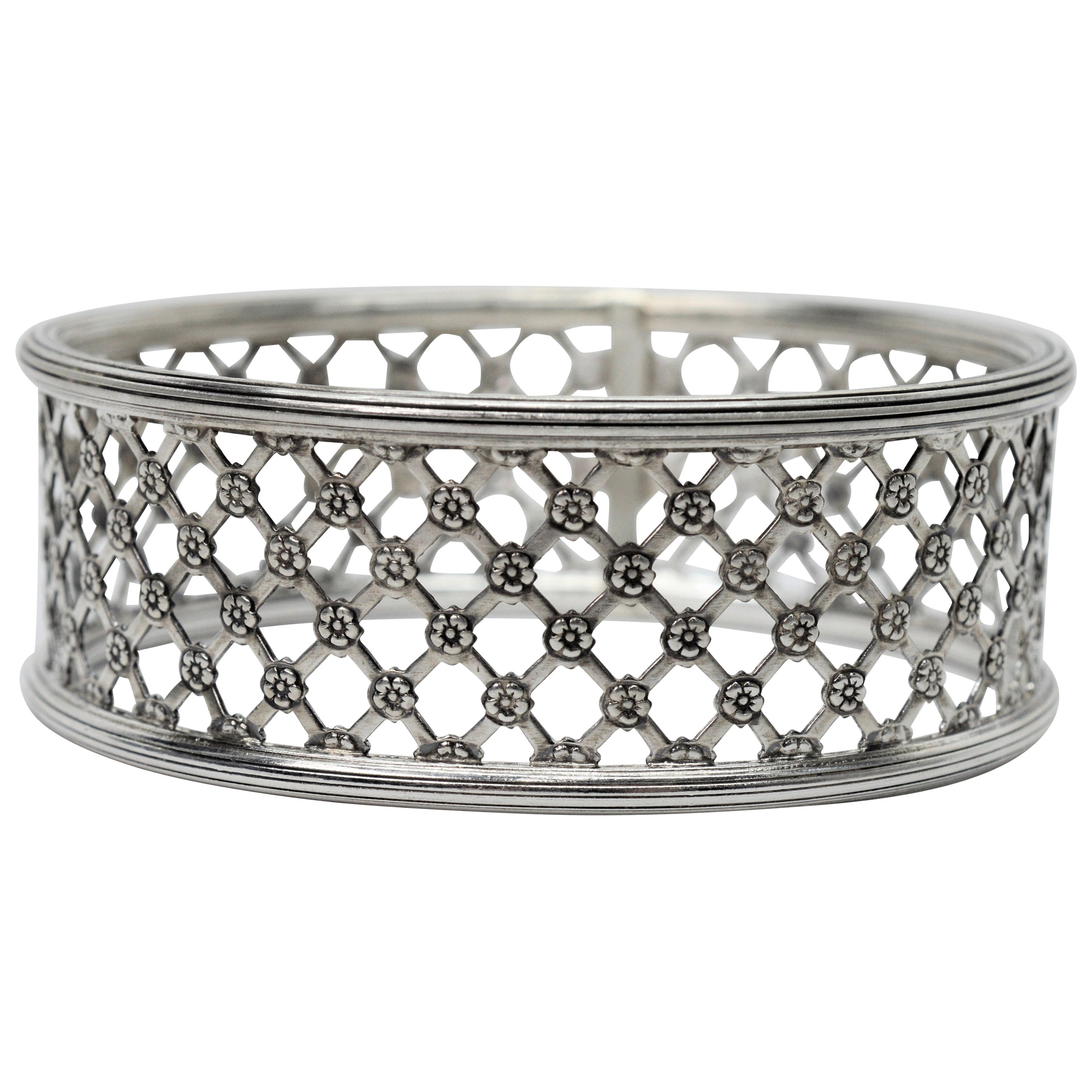 Lattice Lace Sterling Silver Bangle Bracelet