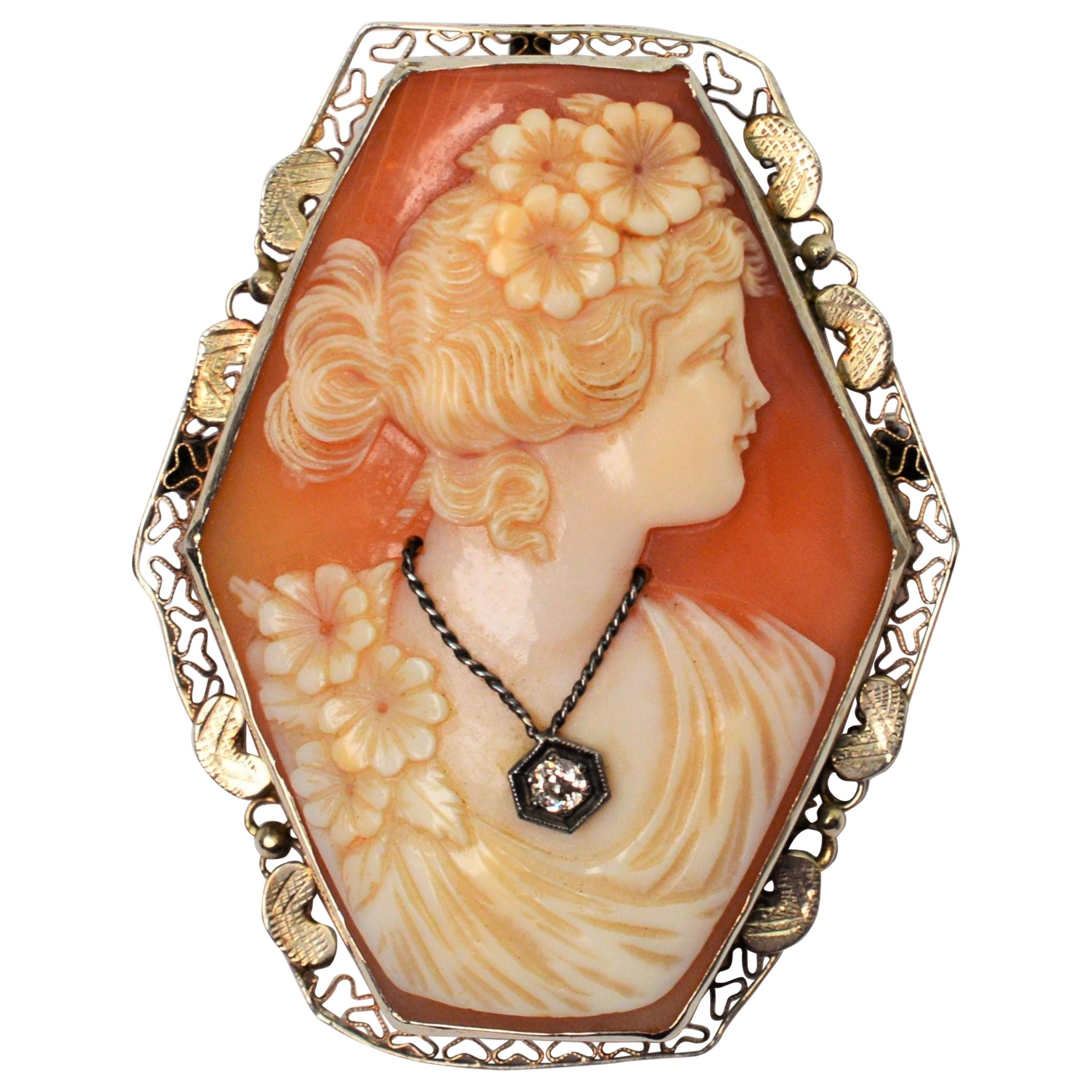 Antique Shell Cameo with Diamond Accent Brooch Pendant