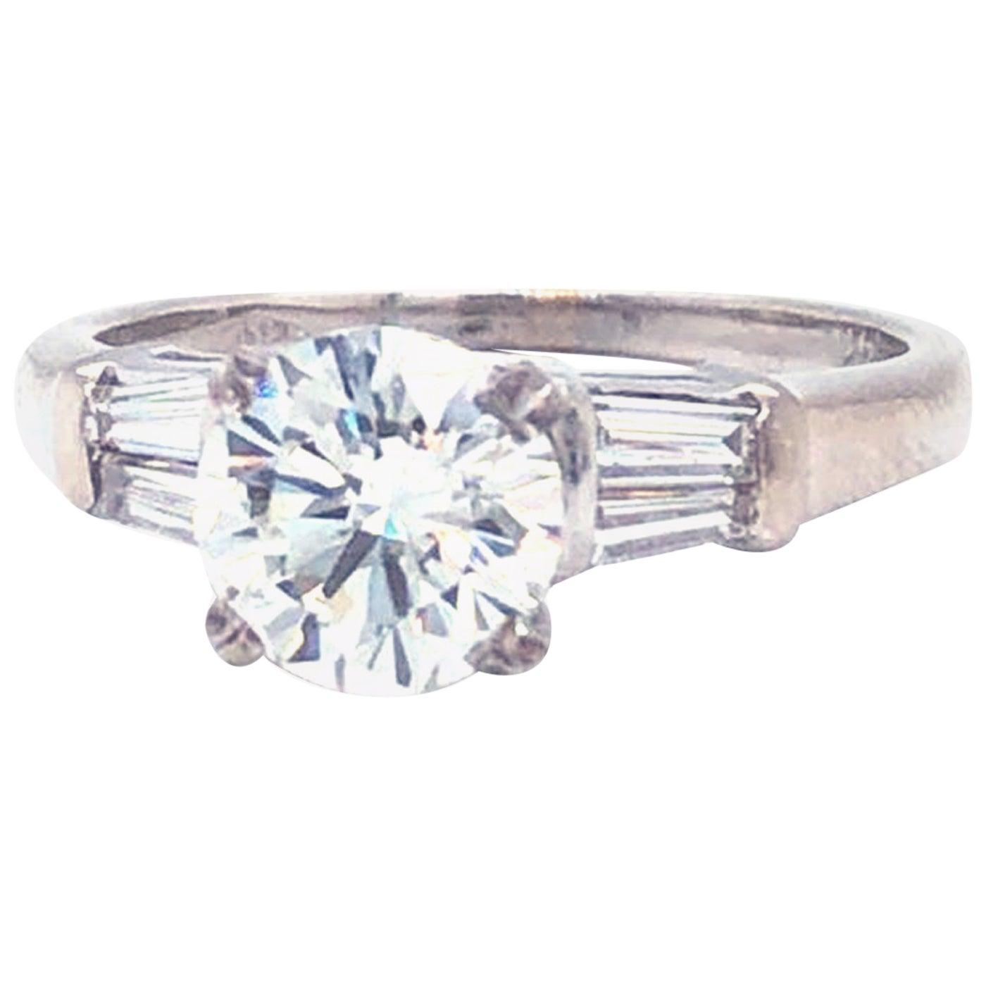 GIA Certified 1.20 Carat VS1 Round Tapered Baguette Platinum Diamond Ring