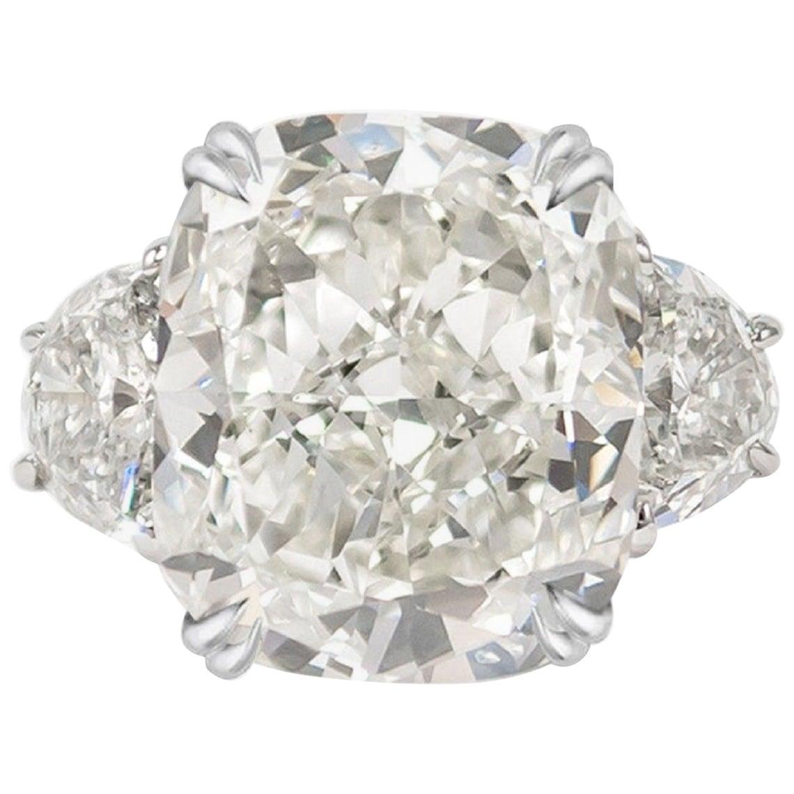 GIA Certified 3.65 Carat Cushion Cut Diamond Platinum Ring