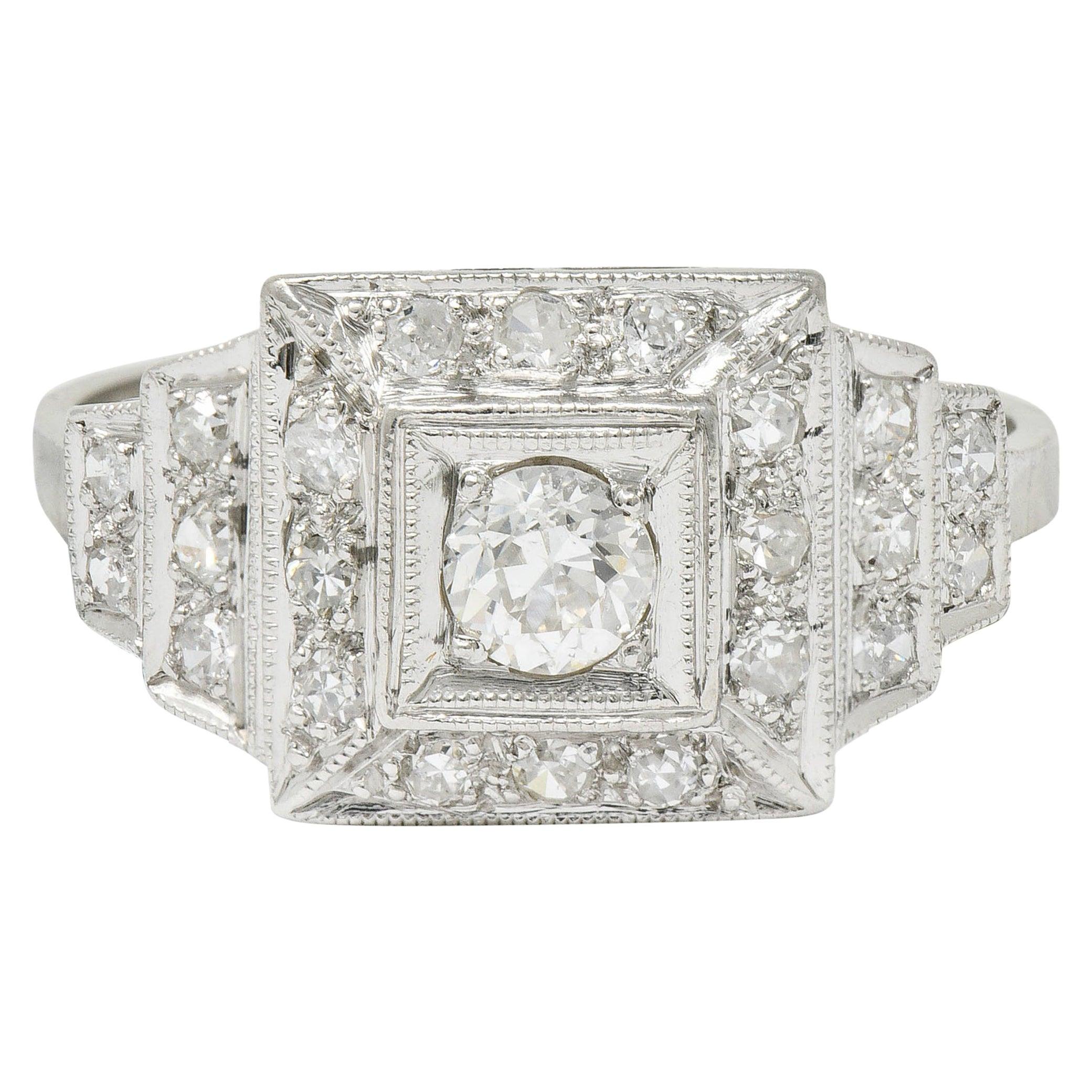 Art Deco Diamond Platinum Square Stepped Engagement Ring