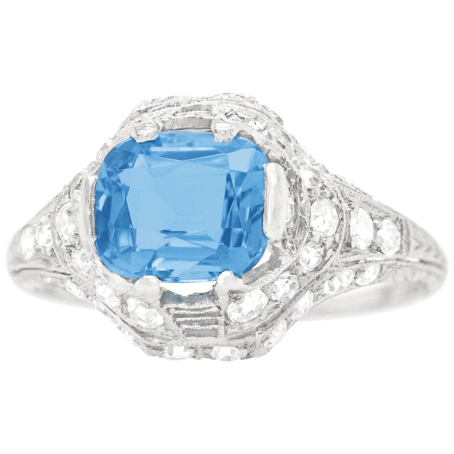 Art Deco Aquamarine and Diamond Ring Platinum