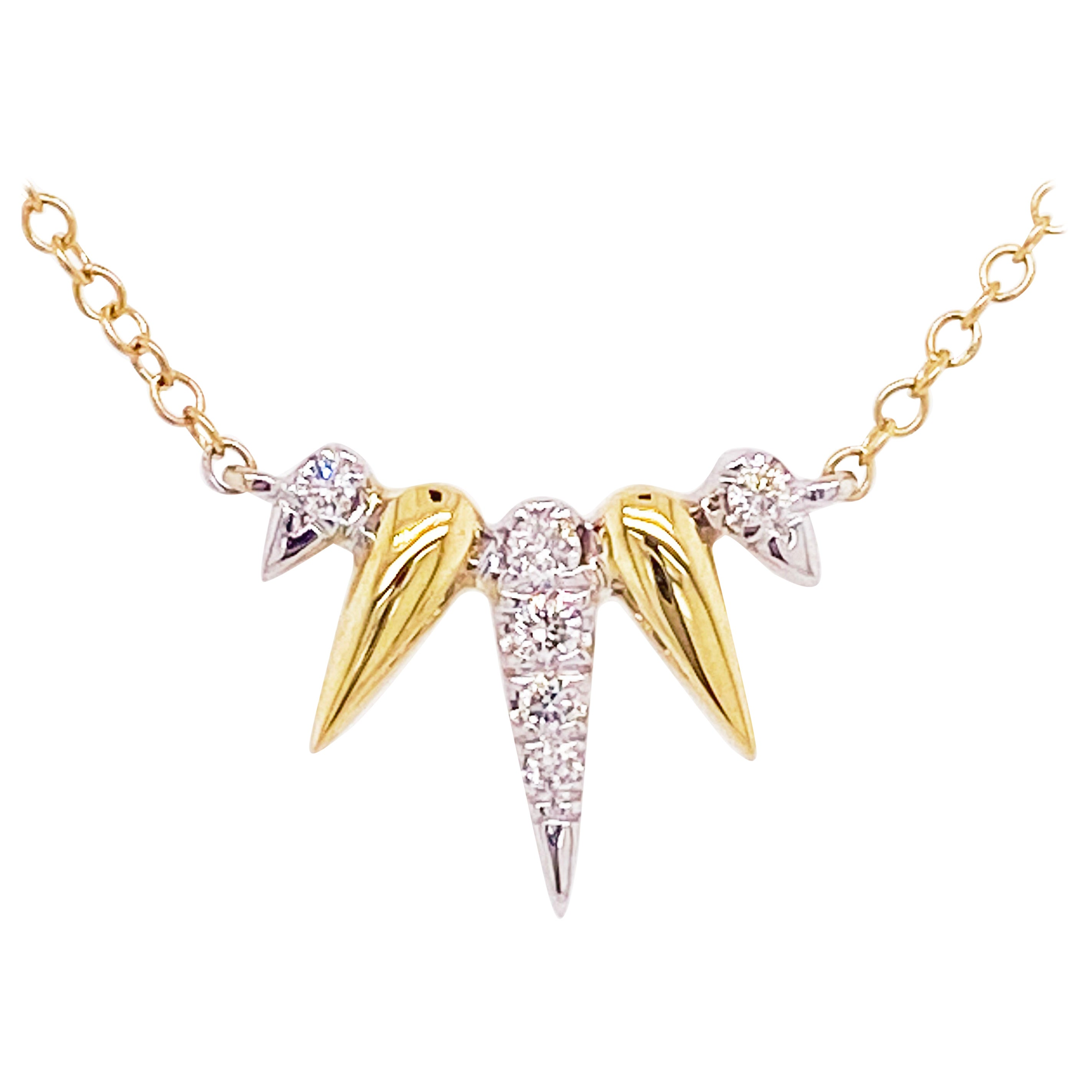 Diamond Spike Necklace, 14K Yellow-White Gold Diamond Pave Spike Fan Necklace