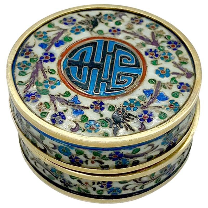 Antique Art Nouveau Enamel and Gold Pill Box