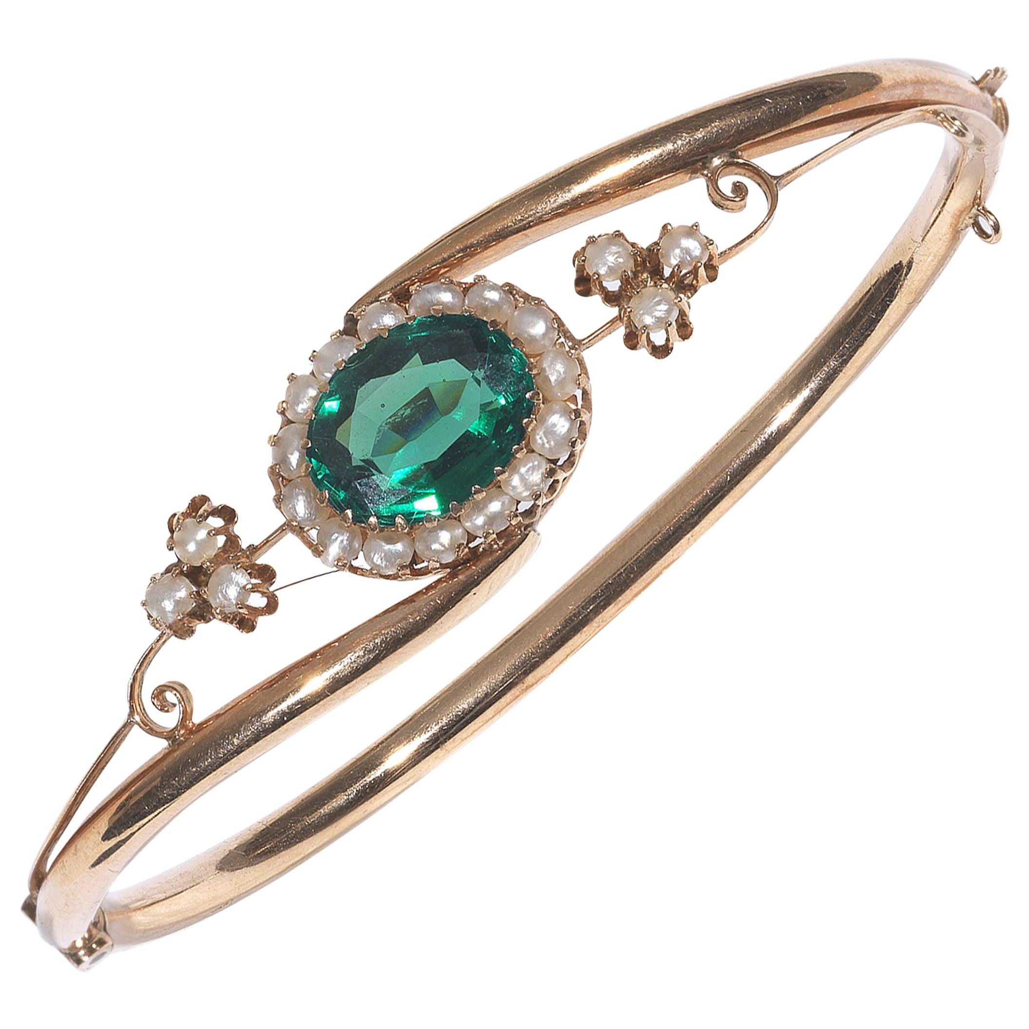 Antique Green Tourmaline Pearl Gold Bangle Bracelet