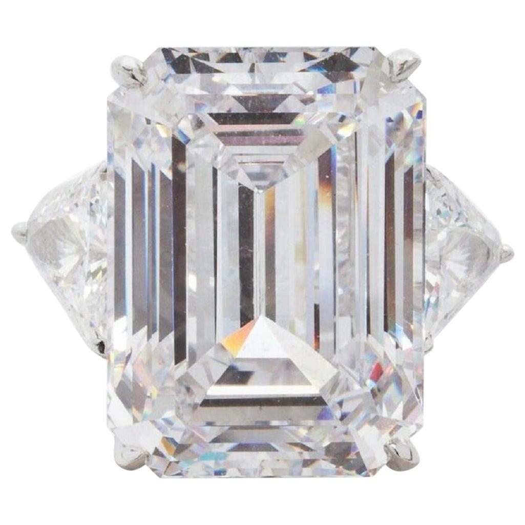 GIA Certified 9 Carat Emerald Cut Diamond Platinum Solitaire Ring