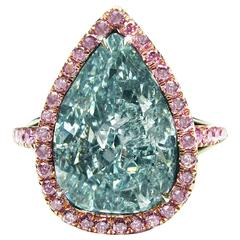 5.42 Carat Natural Fancy Greenish Blue Pear Shaped Diamond Gold Platinum Ring