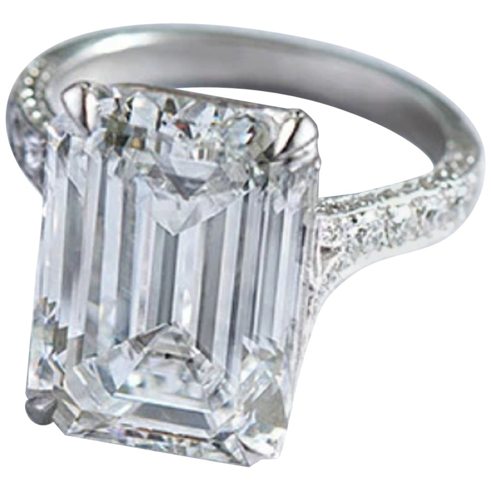 GIA Certified 3 Carat Emerald Cut Diamond Ring D Color Internally Flawless