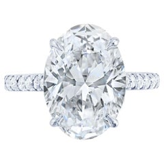 GIA Certified 2.50 Carat Oval Diamond Solitaire Engagement Pave Ring