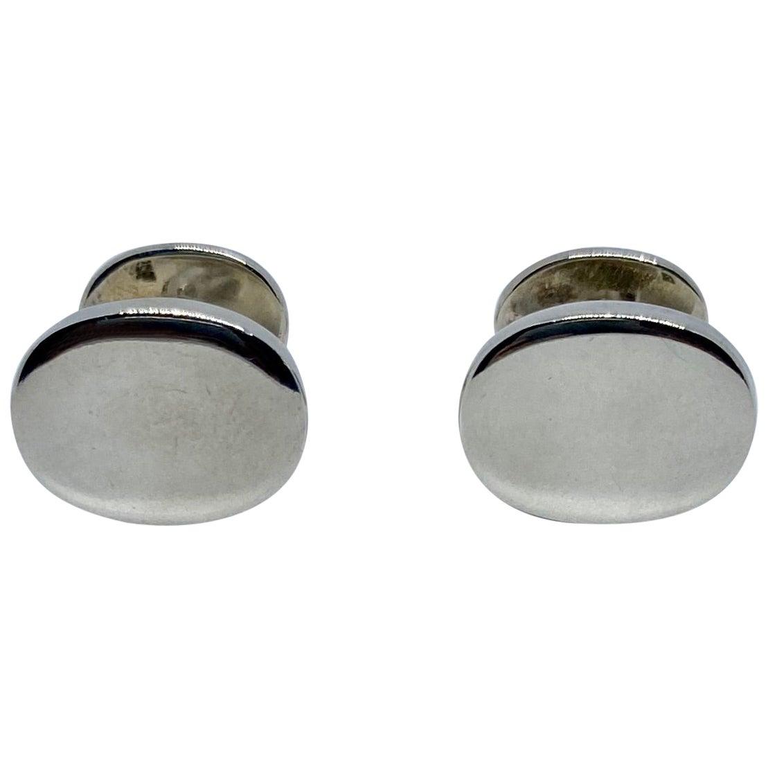 Oval Cufflinks in Sterling Silver