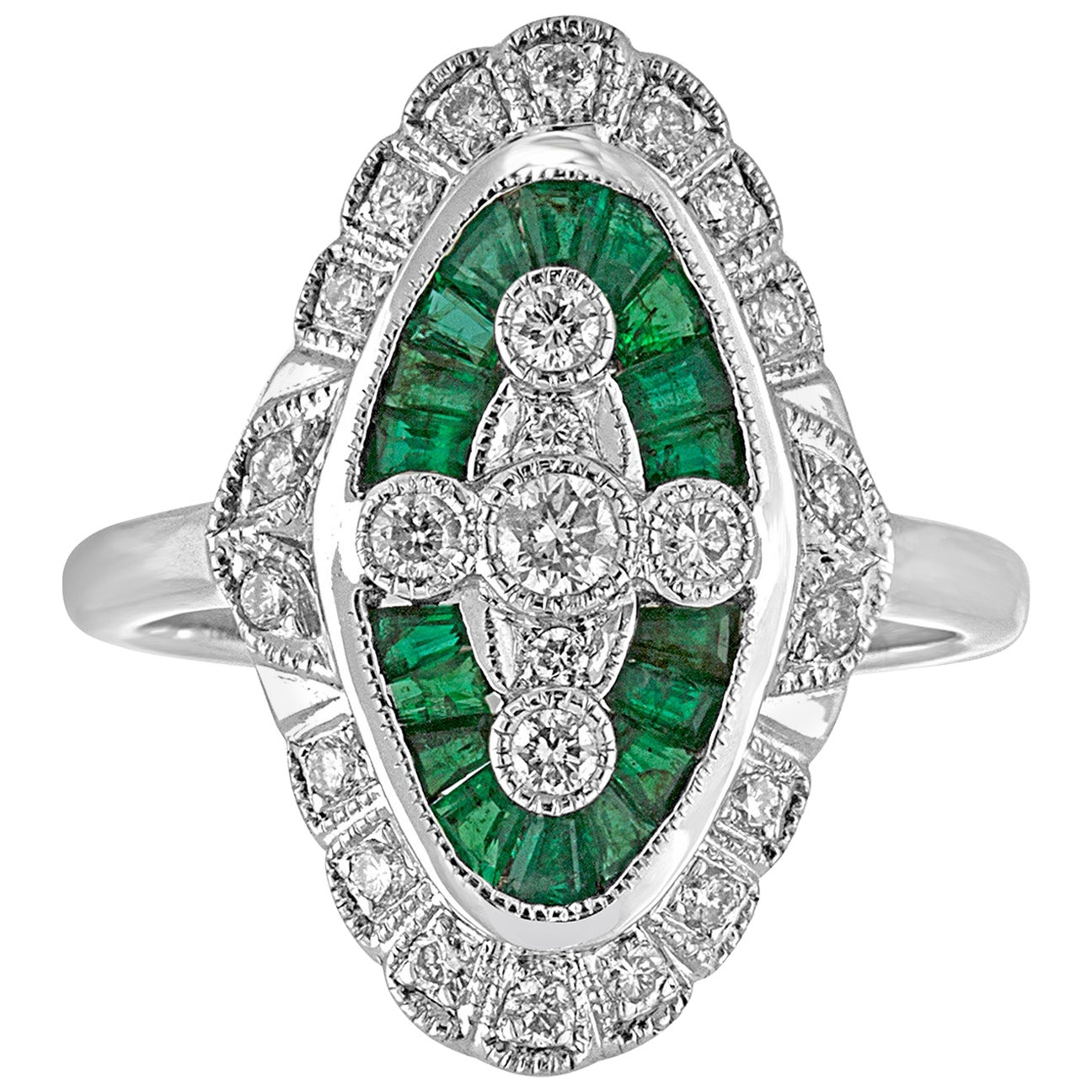 1.00 Carat Emerald Diamond Gold Ring