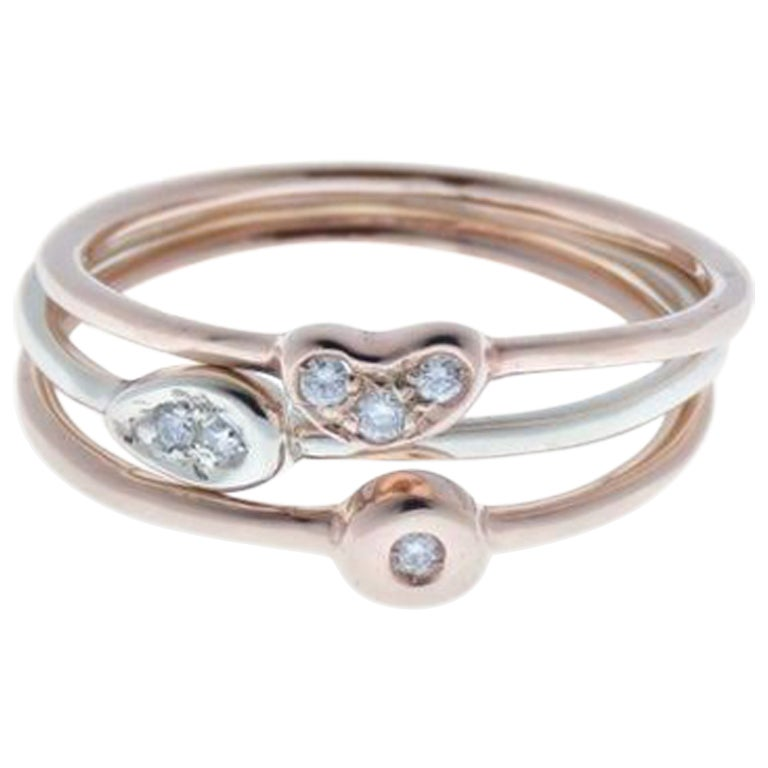 Diamonds 9 Karat Rose White Gold Stacking Rings Handcrafted in Italy