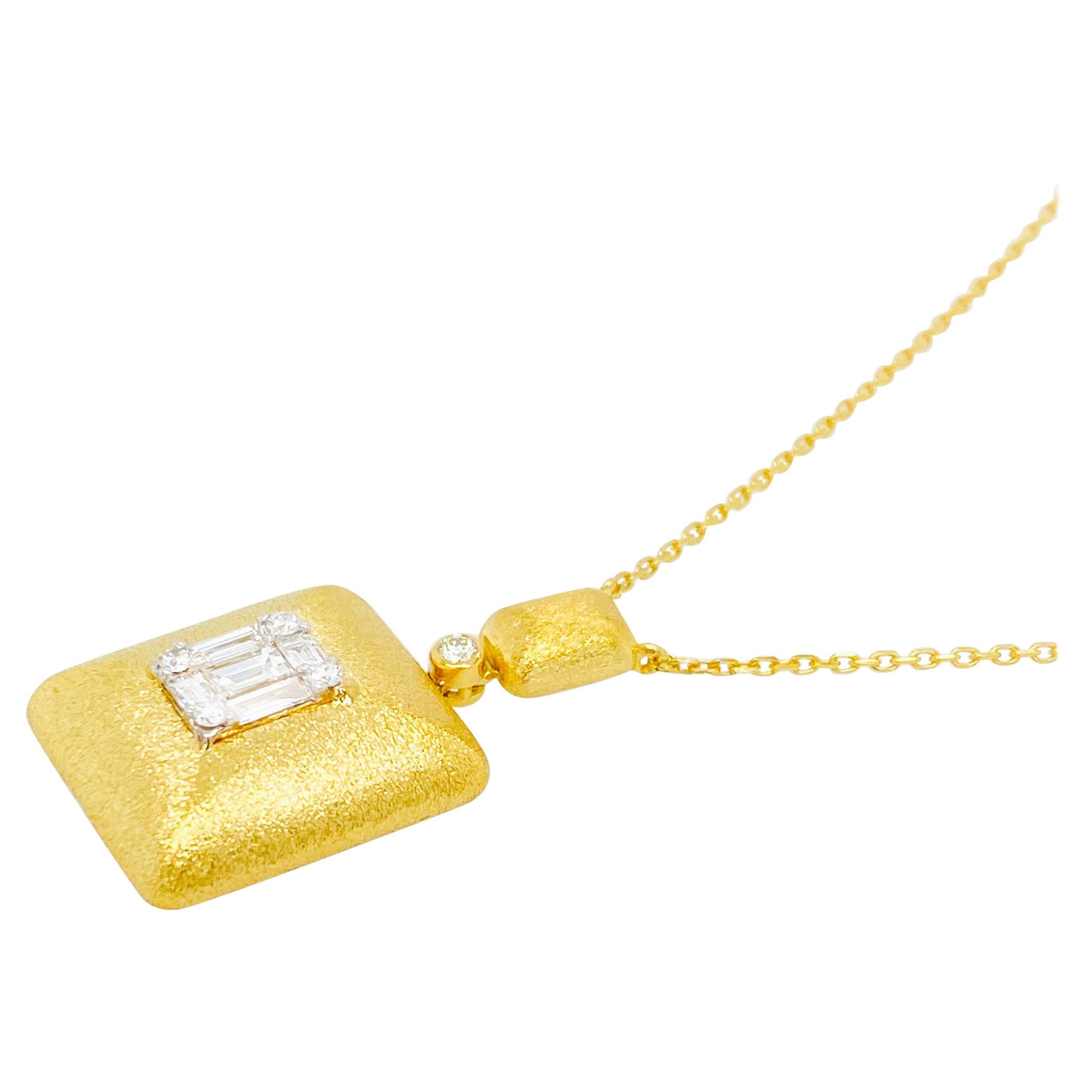 Emerald Illusion Diamond Pendant Necklace 18 Karat Yellow Gold