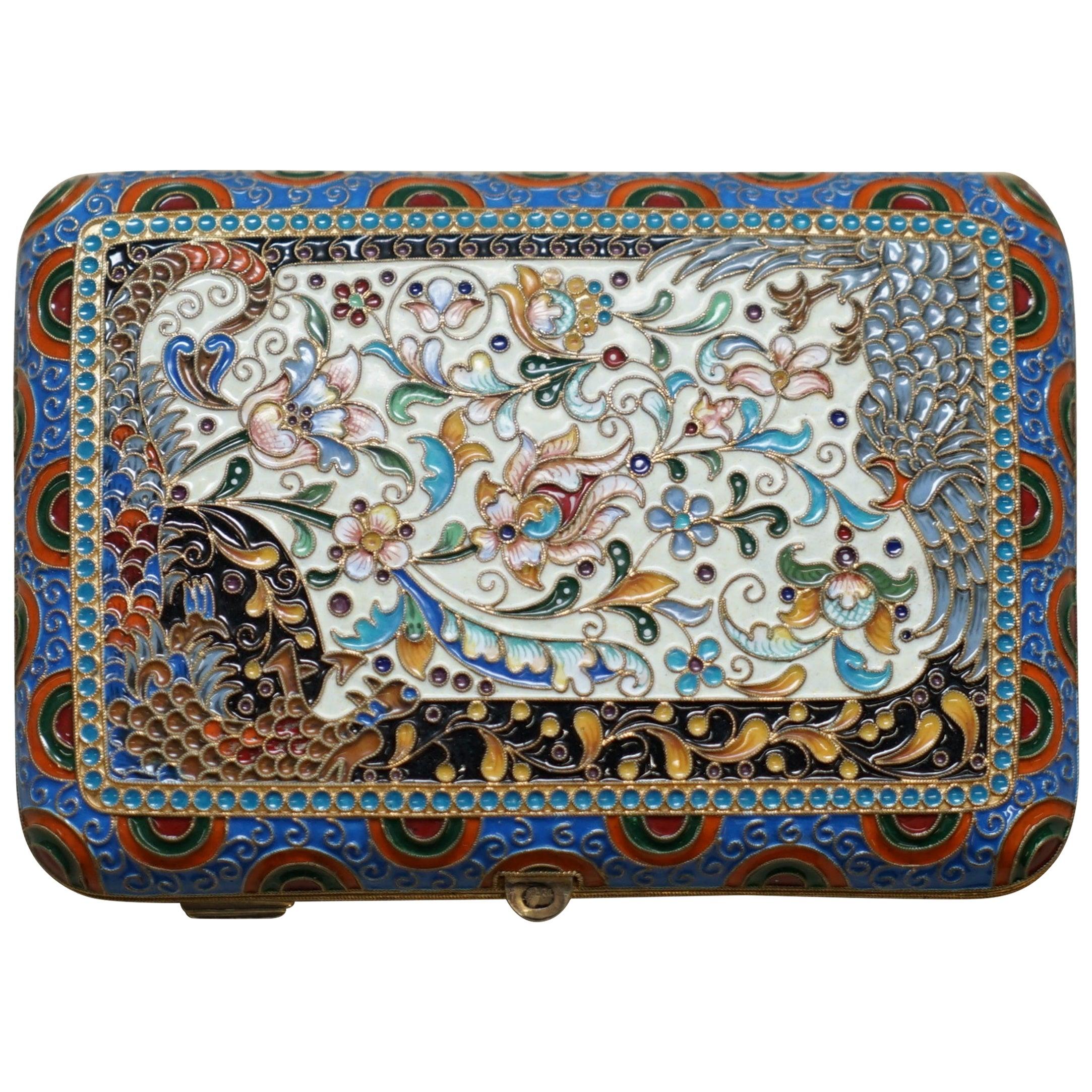 Antique Large Russian Silver 84 Gold Gilt Cloisonné Enamel Cigarette Case