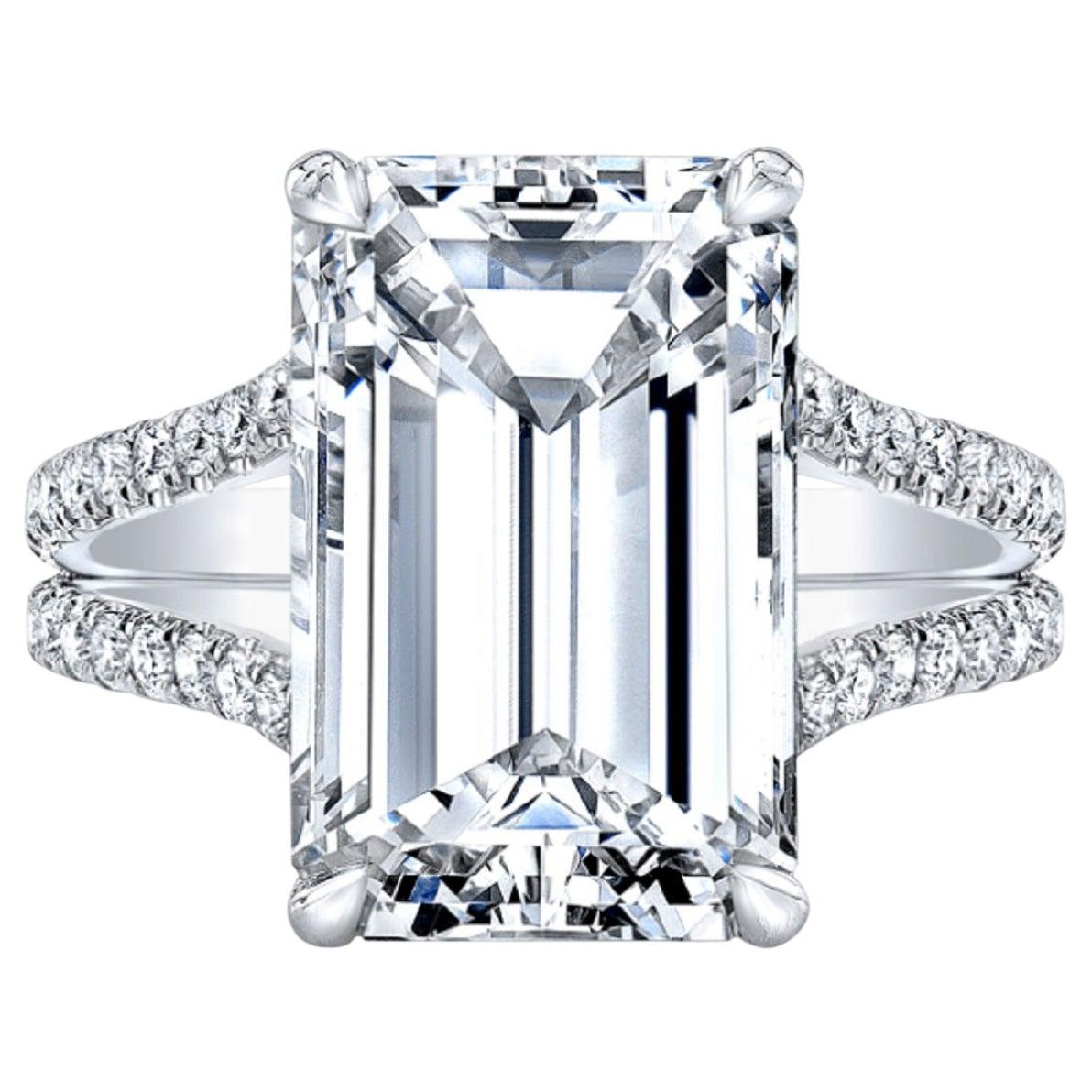 10.02 Carat HRD Certified Emerald Cut Diamond Ring VS1 Clarity 3 Ex
