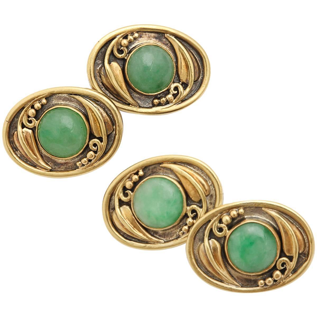 Antique Arts And Crafts Jadeite Cufflinks By F G Hale At
