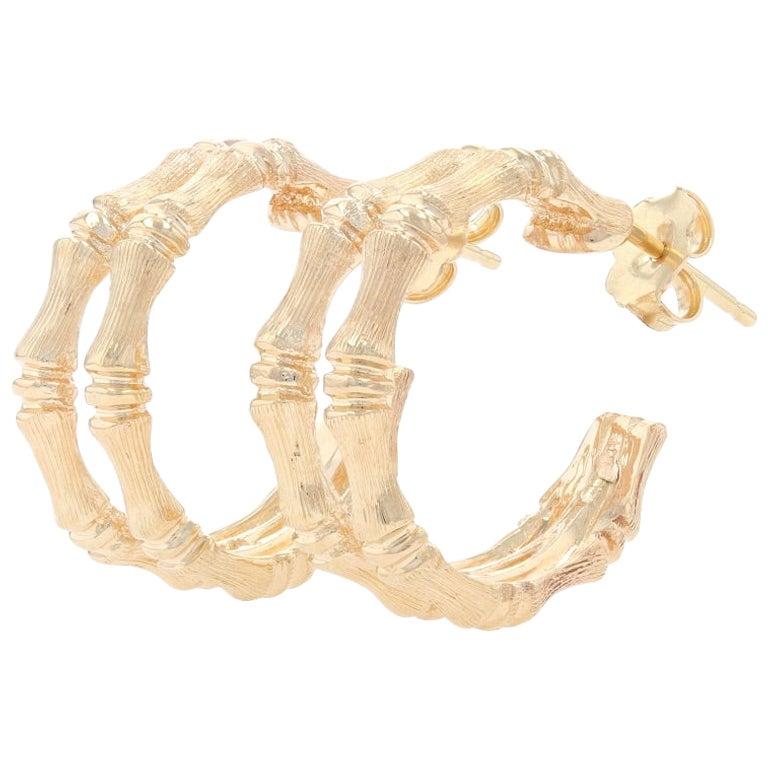 Yellow Gold Bamboo Half-Hoop Earrings, 14 Karat Textured Pierced