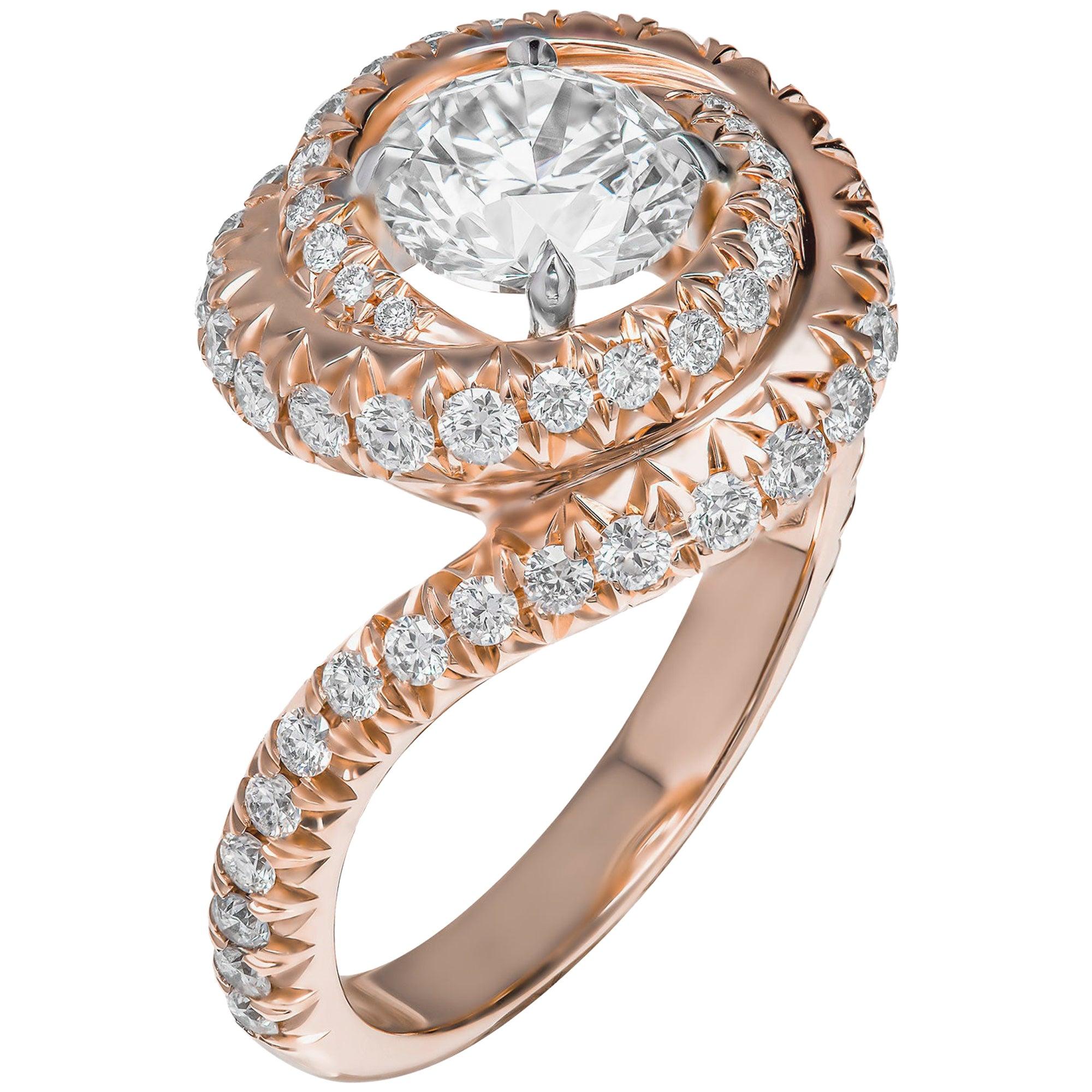 GIA Certified Diamond Swirl Cocktail Ring with 1.30 Carat Round Diamond