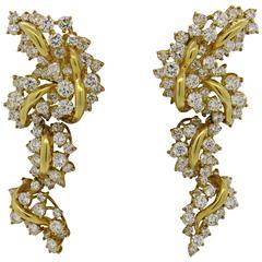 Kurt Wayne Diamond Gold Long Drop Cocktail Earrings