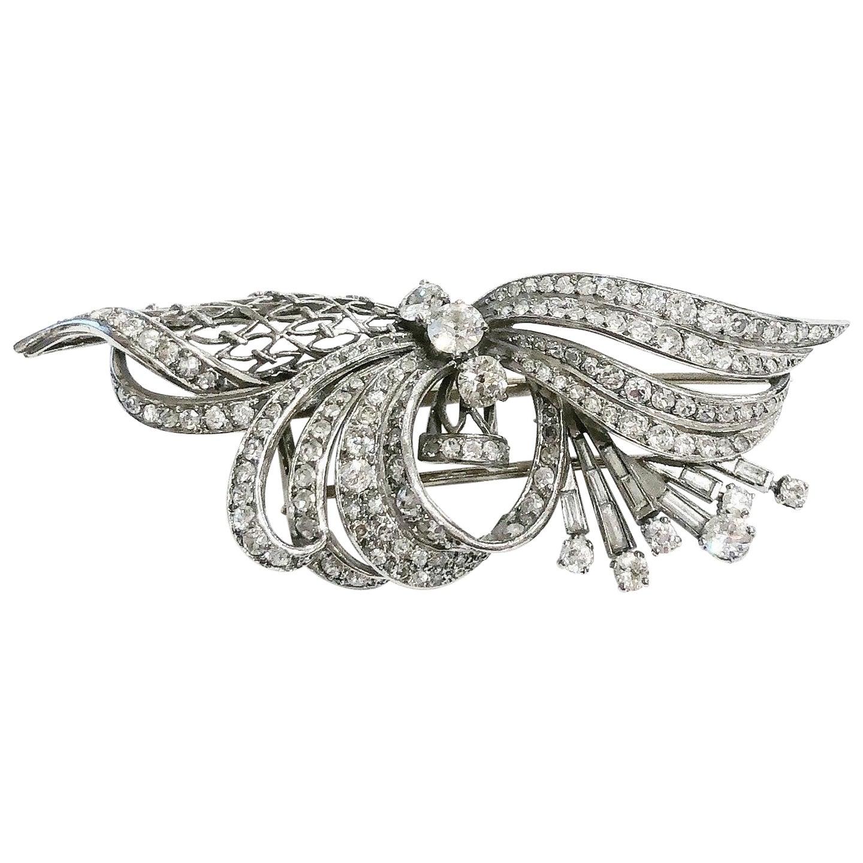 1940s Tank Diamonds Platinum Clip Brooch