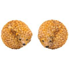 Michael Kanners Wonderful Enamel Onyx Gold Hedgehog Cufflinks