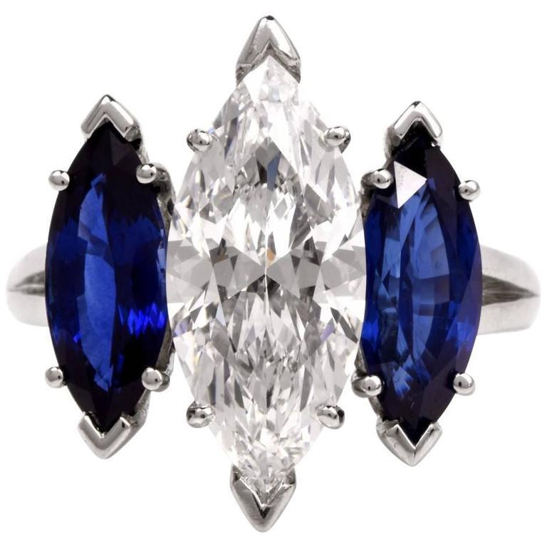Oscar Heyman GIA 4.19 Carat E-VS2 Marquise Diamond platinum Engagement Ring For Sale
