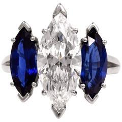 Oscar Heyman GIA 4.19  Marquise Diamond platinum Engagement Ring