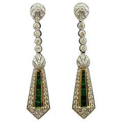 Calibre Emerald Round Brilliant Diamond Gold Drop Earrings