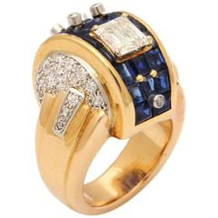 1940s Henri Lavabre Machine Aesthetic Sapphire Diamond Gold Cocktail Ring