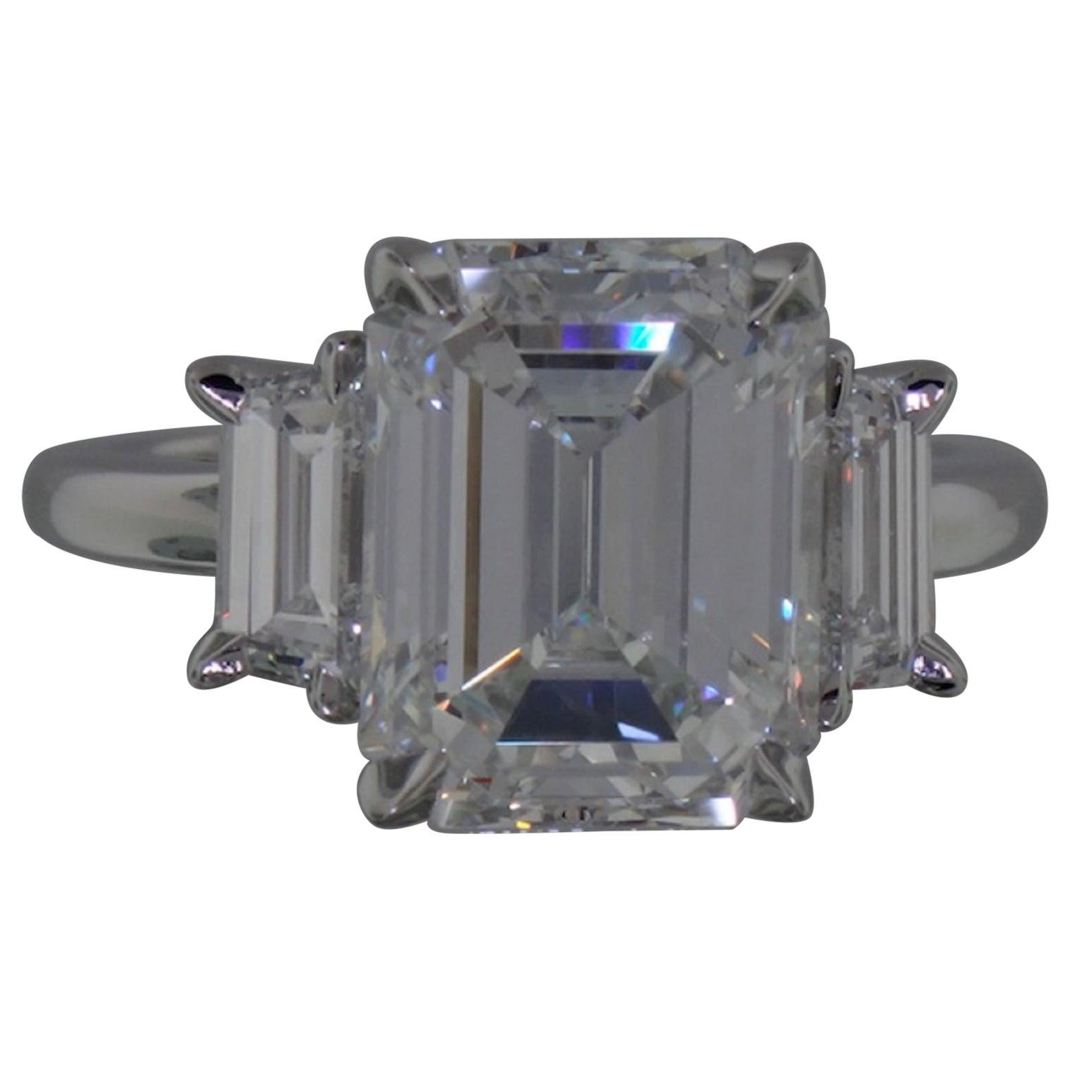 GIA Certified 5 Carat Three-Stone Emerald Cut Diamond Ring F Color VS1 Clarity