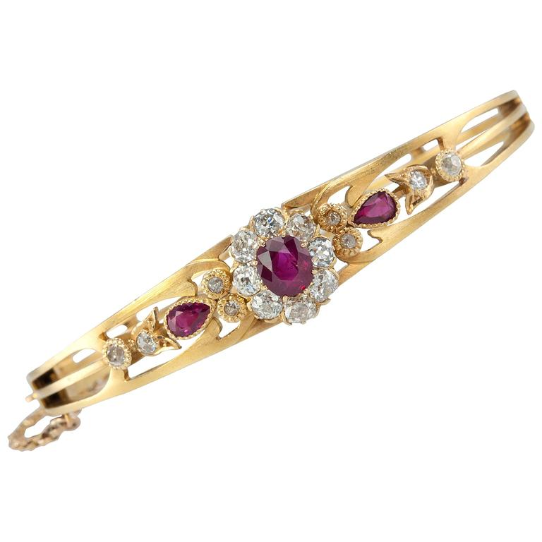 Victorian Burma Ruby Diamond Cluster Gold Bangle Bracelet