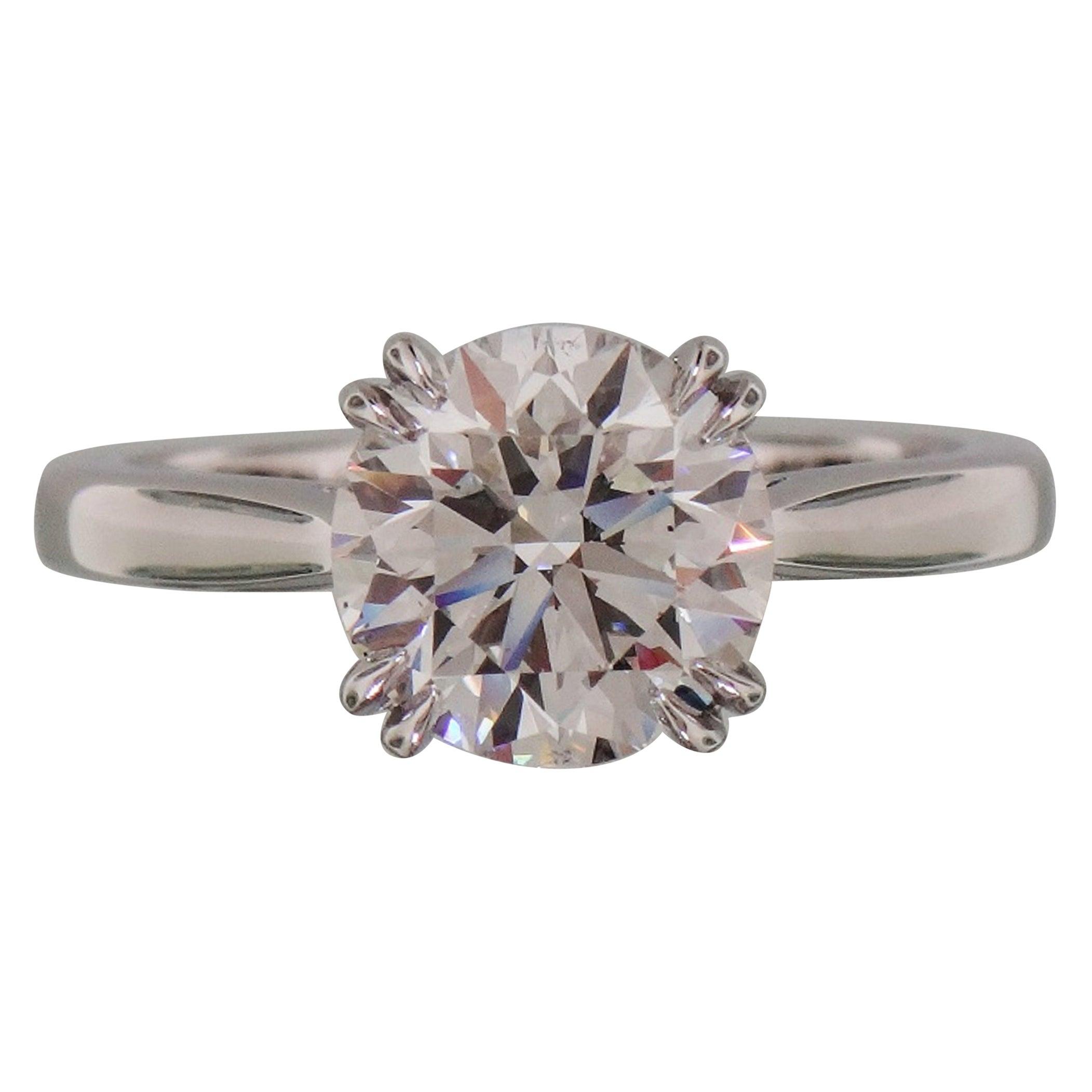GIA Certified 2.01 Carat Round Brilliant Cut Platinum Solitaire Engagement Ring