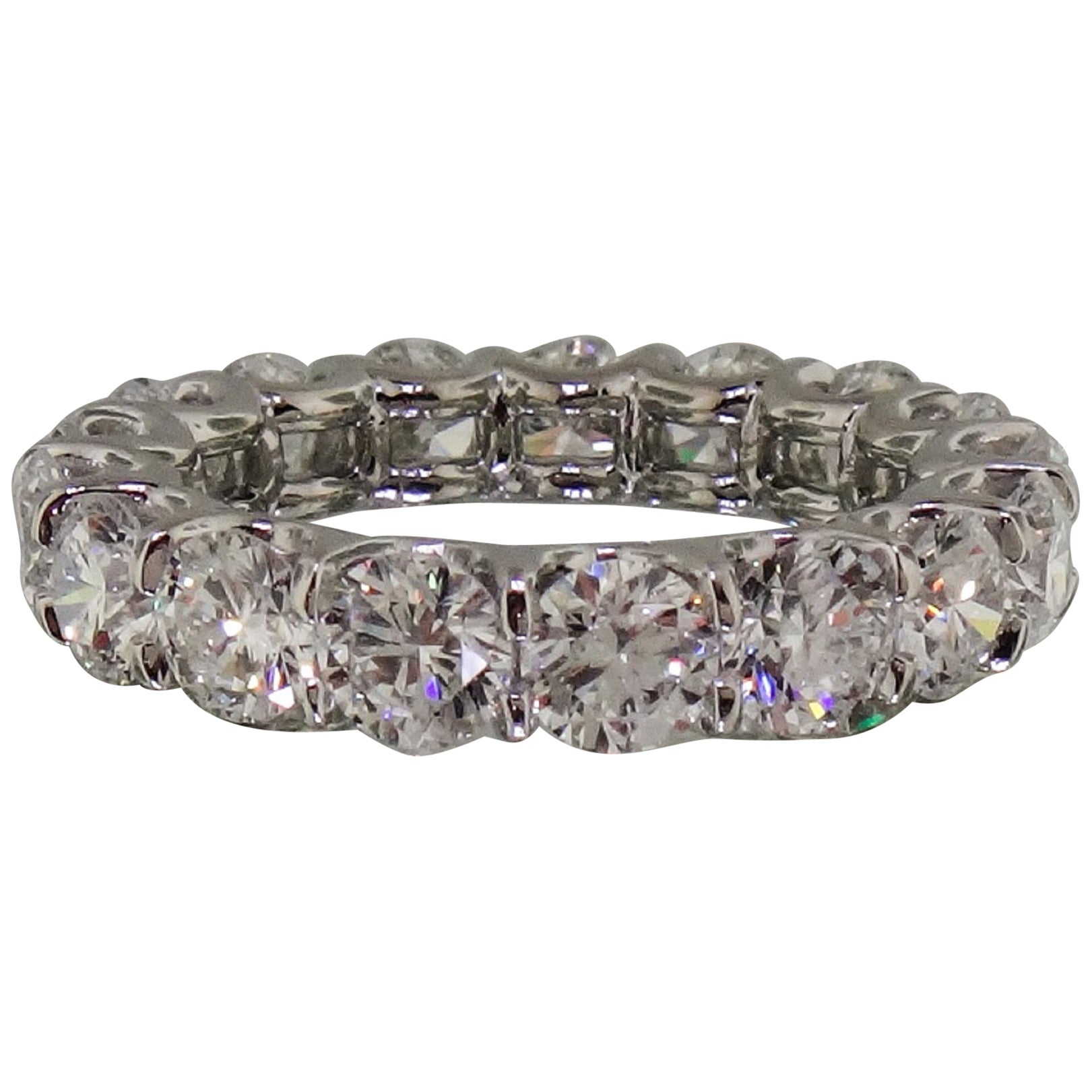 GIA Certified 10 Carat Round Brilliant Cut Eternity Band Ring