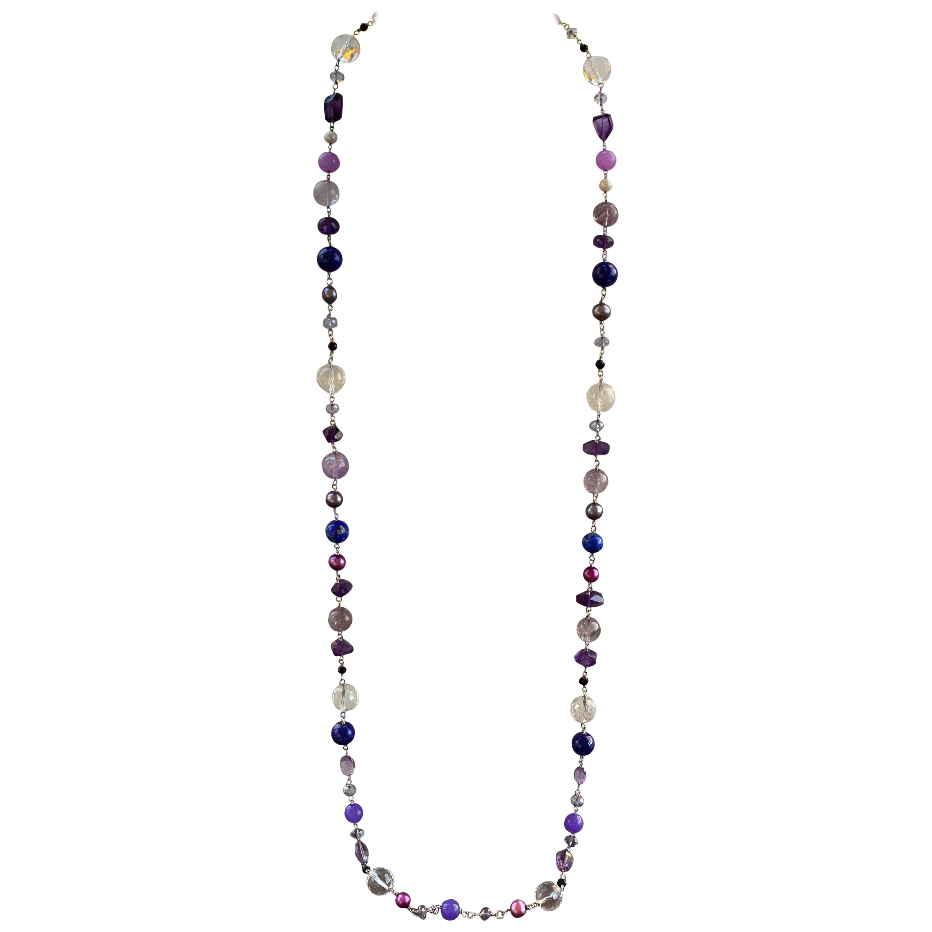 Long Amethyst and Multi-Gemstone Beaded Necklace with Sterling Silver Clasp