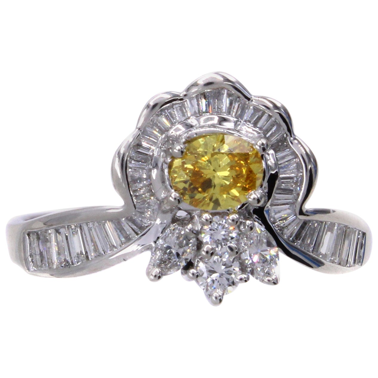 Natural Fancy Vivid Orange-Yellow Diamond Platinum Engagement Ring
