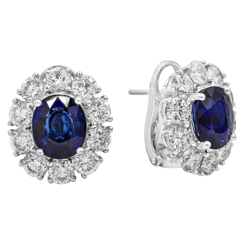 GIA Certified Oval Cut Blue Sapphire and Diamond Halo Earrings