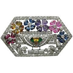 LaCloche Art Deco Multi Gem Diamond Platinum Pin Brooch