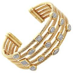 David Yurman diamond gold Confetti Wide Cuff Bracelet